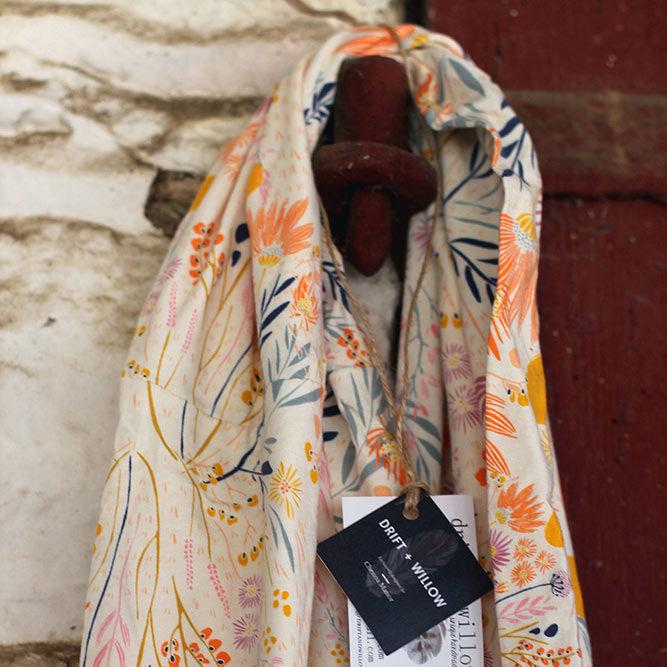 Wispy Floral Knit Infinity Scarf