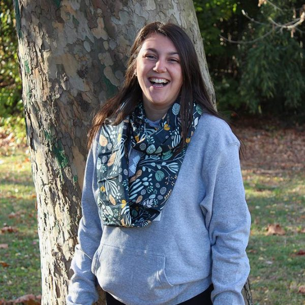 Navy Floral Voile Infinity Scarf